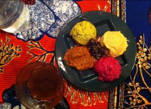 ti'rs (mezzés variés: aubergines grillées, hummus et courge au tahini, betteraves marinées)